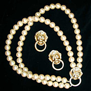 KJL Imitation Pearl Lion Head Necklace Set - Avon Society Collection - Kenneth Lane - Door Kno