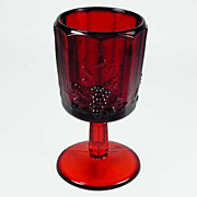 SOLD Paneled Grape Ruby Red Water Goblet - Fenton for L G Wright - 1970s