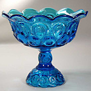 Moon and Stars Colonial Blue Pedestal Comport - Mid Century Vintage