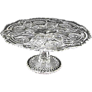 Imperial Glass Fashion Pattern Pedestal Cake Stand Vintage Ca. 1981