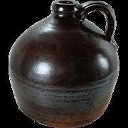 Antique Stoneware Squat Jug Albany Slip John Caire Poughkeepsie New York Mid 1800s