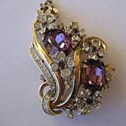 Vintage Floral Rhinestone Rhinestone Trifari Brooch With BIG Beautiful Purple Stones Produced
