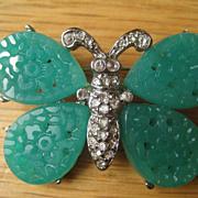 Vintage KJL Figural Rhinestone and Poured Carved Art Glass Butterfly Brooch