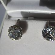 Wonderful Vintage Eisenberg Extra Large Clear Rhinestone Earrings 1945-1958