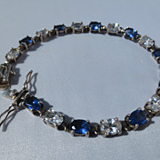 SALE Shop Special! Vintage Art Deco Tennis Bracelet with Diamond and Sapphire CZ Made in Czech