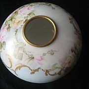 Lovely Vintage Hand Painted Porcelain Blooming Open Roses Limoges Hair Receiver or Trinket ~ .