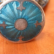 Vintage Art Deco Guilloche Enamel & Silver Top Purse With Lovely Brocade purse