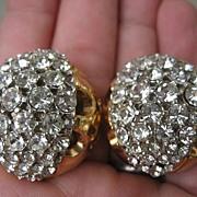 Gorgeous Vintage Huge Rhinestone Kramer Earrings Sparkle Galore!