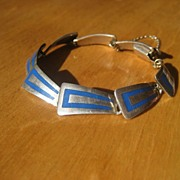 Vintage Mexican Sterling Silver and Enamel Link Bracelet Signed