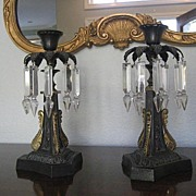 Antique Pair French Solid Bronze Candlestick Holders with Crystal hanging Prisms, Circa 1860