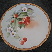 Antique Hand Painted Cherry Plate by Howard Reury