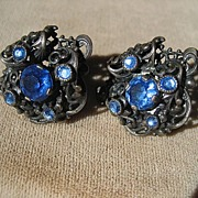 Vintage Art Deco Rhinestone Czech Earrings in Sterling Silver