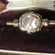 Antique Gold Filled Watch Key with MOP and Agate ~ Victorian Period