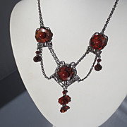 Antique Arts and Crafts Amber and Sterling Festoon Necklace ~ Circa 1900