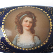 A Fabulous Antique Royal Vienna Hand Painted Miniature Portrait Porcelain Trinket / Jewelry Bo