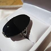 SOLD Huge Vintage Black Onyx Ring in Sterling Silver ~ Art Deco Period