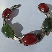 SALE Shop Special! Chrysoprase &  Carnelian and Sterling Silver French Bracelet ~ Art Deco Per