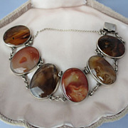 SALE Shop Special! Antique Scottish Agate Link Bracelet in Sterling Silver ~ Multi Colors ~ Vi