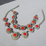 Vintage Rhinestone Hobe Demi Parure Necklace and Bracelet ~ 1965