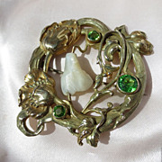 Wonderful Antique Art Nouveau Brooch with MOP and Green Paste Stones Rolled Gold ~ Extra Large