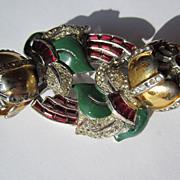 Vintage Coro Quivering Camellia Duette Brooch ~ Fur Clips Art Deco Period