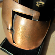 Most Unusual Vintage Mid Century Copper Cuff ~ Buckle Bracelet Extra Large