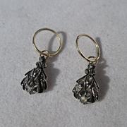 SALE Shop Special! Fabulous Antique Gold Hoop Earrings with Diamond Dangle Day Night Earrings