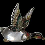Vintage Coro Craft Lucite Jelly Belly Enamel Mallard Duck Brooch