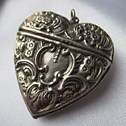 Antique Sterling Silver Puffy Heart Shaped Match Safe / Vesta / Pendant