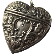 Antique Sterling Silver Puffy Heart Shaped Match Safe / Vesta / Pendant