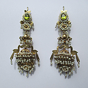 SALE Shop Special! Remarkable Antique French 14K Gold and Natural Pearl Chandelier Earrings ~