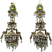 Shop Special! Remarkable Antique French 14K Gold and Natural Pearl Chandelier Earrings ~ And .