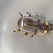 Wonderfully Rare Genuine Amethyst and 15K White Gold Insect Bug ~ Victorian Period