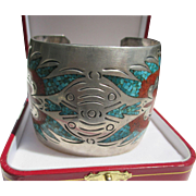 Super Wide Native American Cuff with Inlaid Coral and Turquoise ~ Sterling Silver ~ Retro ...