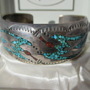 Vintage Native American Indian Navajo Sterling Silver Turquoise Coral Figural Bird Cuff Bracel
