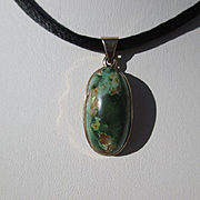 SOLD Vintage Natural Green Turquoise Pendant ~ Necklace with 14K Gold Bezel
