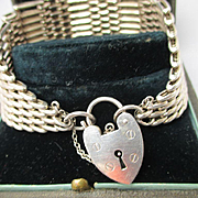 Antique English Sterling Silver Gate Bracelet with Vintage Padlock