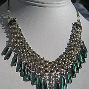 Vintage Art Deco Faux Pearl and Green Paste Fringe Dangle Flapper Necklace