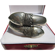 Really Unique Antique Double Headed Sterling Silver Snake Head Cross Over Bangle ~ Victorian .