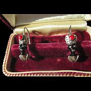 Pristine Antique Enamel and Silver African American Blackamoor Earrings ~ Edwardian Period