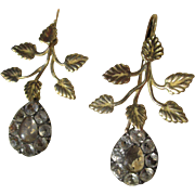 SALE Shop Special! Rare Antique Black Dot Rock Crystal 18K Gold Dangle Earrings ~ Georgian Era