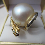 SALE Shop Special! Huge Unique Vintage Faux Pearl Snake Ring ~ Outrageously Fun and Funky! Cir