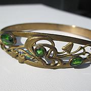 Antique Art Nouveau Brass and Green Paste Bangle ~ Circa 1900