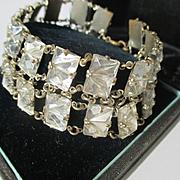 Beautiful Vintage Faceted Rock Crystal Link Bracelet ~ Egyptian Revival ~ Art Deco