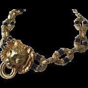 Rare Vintage Kenneth Jay Lane ~ KJL Lion Head Door Knocker necklace with Enamel Links ...