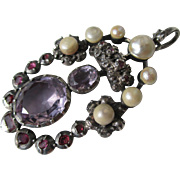 Grand and Impressive Antique Georgian Pendant with Amethyst ~ Rubies ~ Diamonds and Pearls ~ .