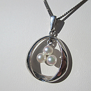 Vintage Signed Mikimoto Cultured Pearl Pendant with Sterling Silver Art Deco Chain