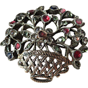 Antique French Giardinetti Silver Multi Colored Genuine Gemstone Brooch ~ Victorian Period