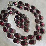 SALE Shop Special! Antique Georgian Riviere Natural Garnet Necklace ~ Pendant ~ Georgian Era