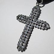 Extra Large Antique French Paste Black Dot Paste Religious Cross Pendant ~ Victorian Period